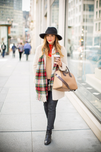 gal meets glam blogger jeans hat tartan scarf winter coat winter outfits handbag