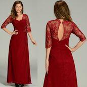 dress,burgundy,formal dress,formal wear,mother of bride dress,quarter sleeve dress,chiffon dress,lace dress,discountdressshop