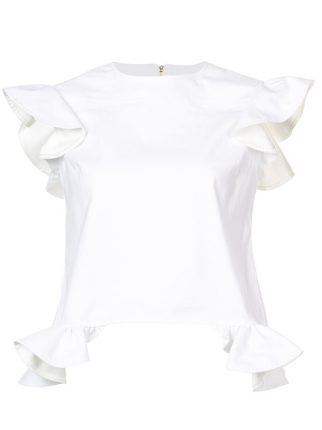 blouse ruffle women spandex angel white cotton top