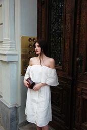 dress,linen,cold shoulder,linen dress,white dress,midi dress,off the shoulder dress,clutch,summer dress,summer outfits