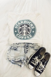 t-shirt,style,outfit,cute outfits,swag,white,girl,coffee,starbucks coffee,top,jeans,shorts,shoes,shirt,teenagers,fashion,american,summer,outifit,sweater,stars,bucks,cool,green,black and white,black,trendy,tank top,bag