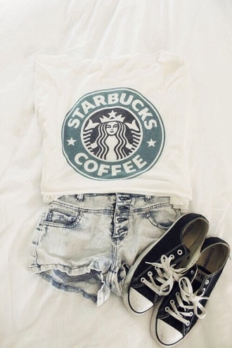 t-shirt style outfit cute outfits swag white girl coffee starbucks coffee top jeans shorts shoes shirt teenagers fashion american summer outifit sweater stars bucks cool green black and white black trendy super cute tank top bag
