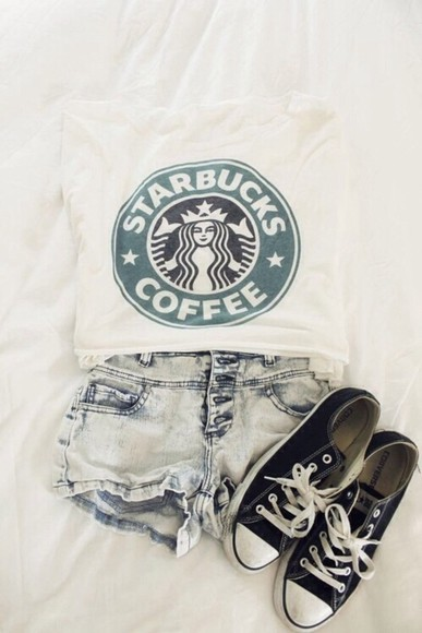 tops t-shirt style shorts girl white t shirt outfit all cute outfits swag coffee starbucks denim