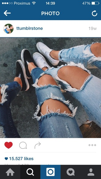 jeans ripped jeans vans