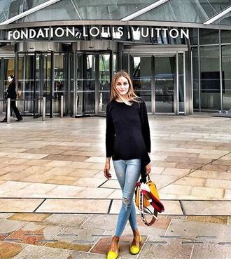 jeans top ripped jeans olivia palermo flats sweatshirt sweater shoes