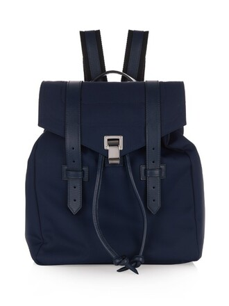 backpack leather blue bag