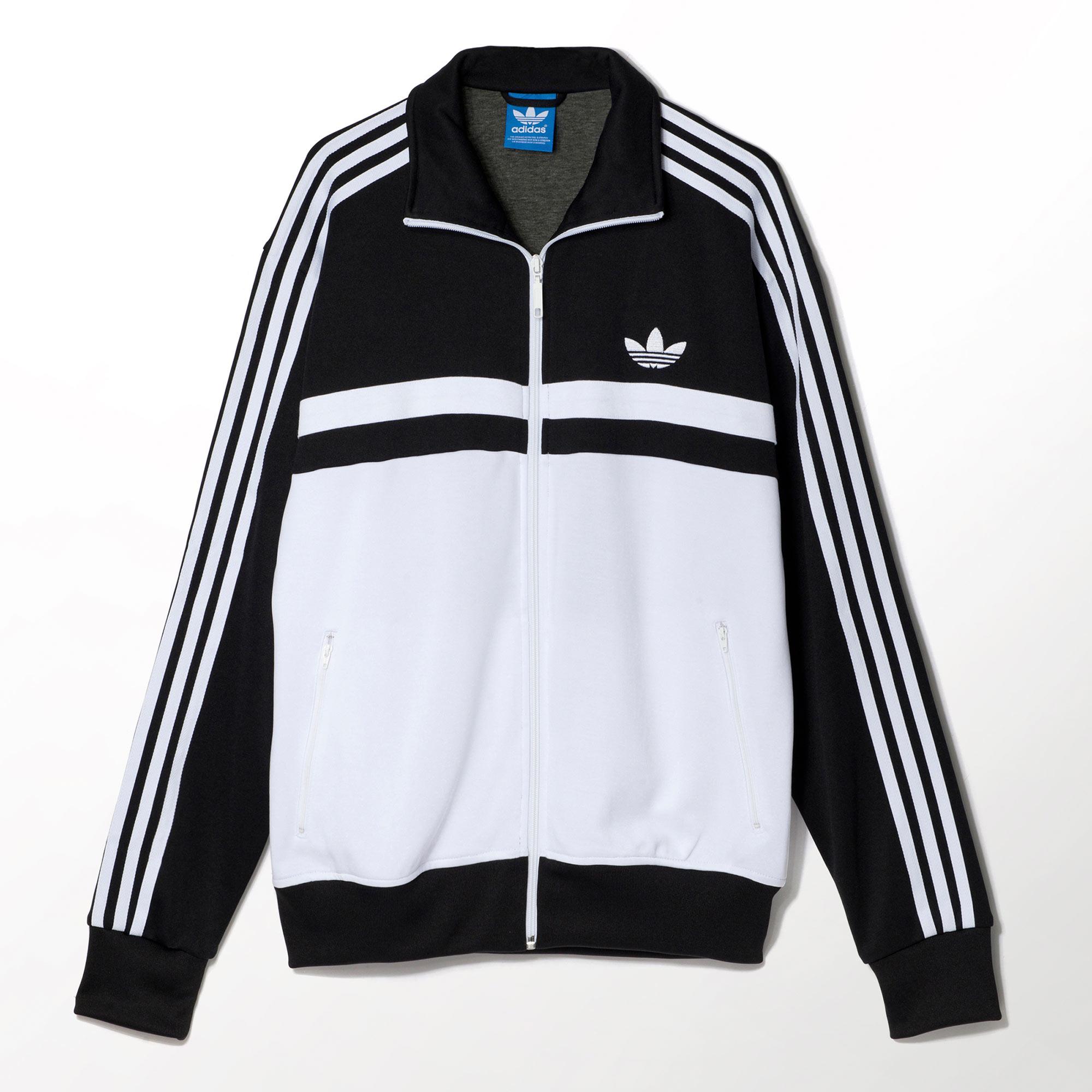 Black white adidas track jacket