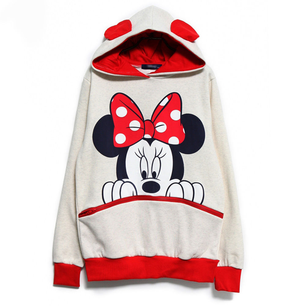 Girls Mickey Minnie Mouse Ear Emo Sweater Shirt Jumper Hoodie XL White | eBay