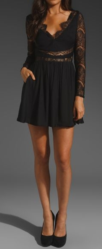 dress black lace eyelash v neck sheer waist center see through middle long sleeves little black dress skater a-line