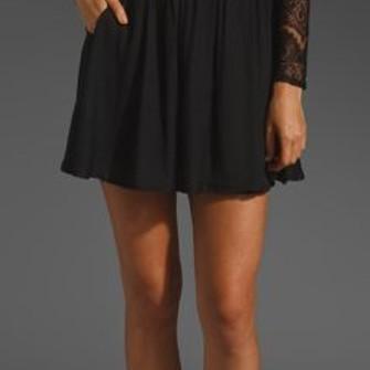 black dress middle lace v neck eyelash sheer waist center see through long sleeves little black dress skater a-line the middle