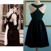50s style,black dress,party dress,prom dress,retro dress,vintage dress,black party,classic dress,audrey hepburn