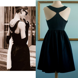 50s style black dress party dress prom dress retro dress vintage dress black party classic dress audrey hepburn