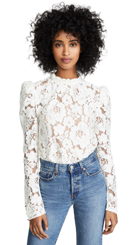 WAYF Emma Puff Sleeve Lace Top in ivory