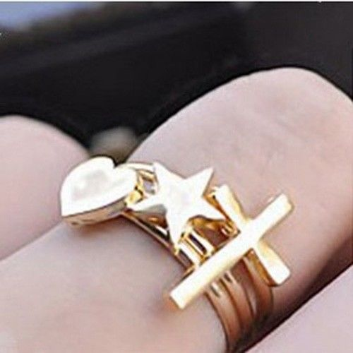 3PCS Fashion Above the Knuckle Midi Ring Heart Cross star Rings Women CA JG