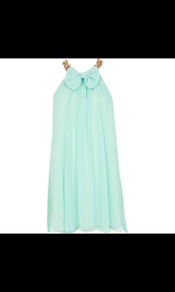 dress bows mint mint green dress gold chain