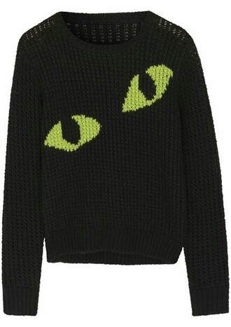 sweater black green cats eyes halloween creepy goth emo