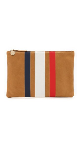 clutch white blue camel red bag