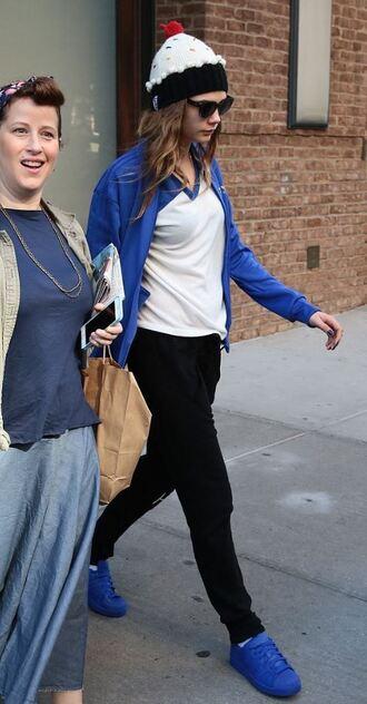 jacket top blue sneakers cara delevingne hat pants sweatpants beanie