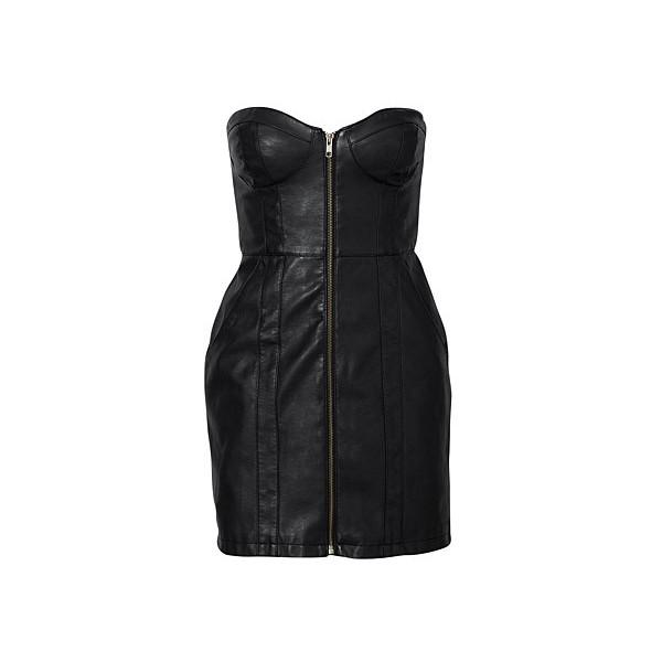 H&M Black Zipper Front Faux Leather Dress - Polyvore