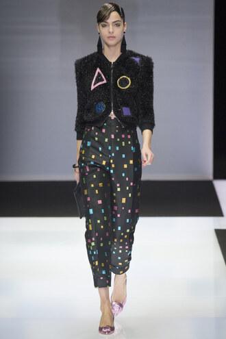 pants jacket armani runway milan fashion week 2016 fashion week 2016 model
