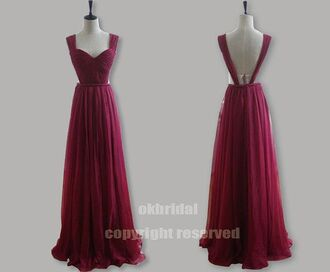 dress prom dress prom prom gown backless dress chiffon dress chiffon burgundy burgundy dress