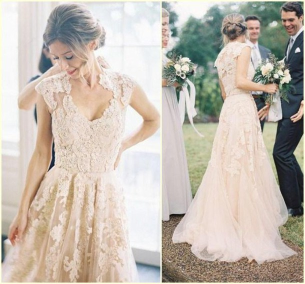 blush wedding dress, pink wedding dress, wedding dress, wedding ...
