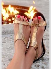shoes,gold bronze sandals