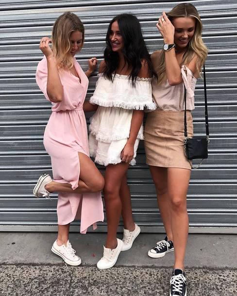 2fd23b336b4d7 dress low top sneakers skirt mini skirt tumblr maxi dress long dress slit dress  pink dress