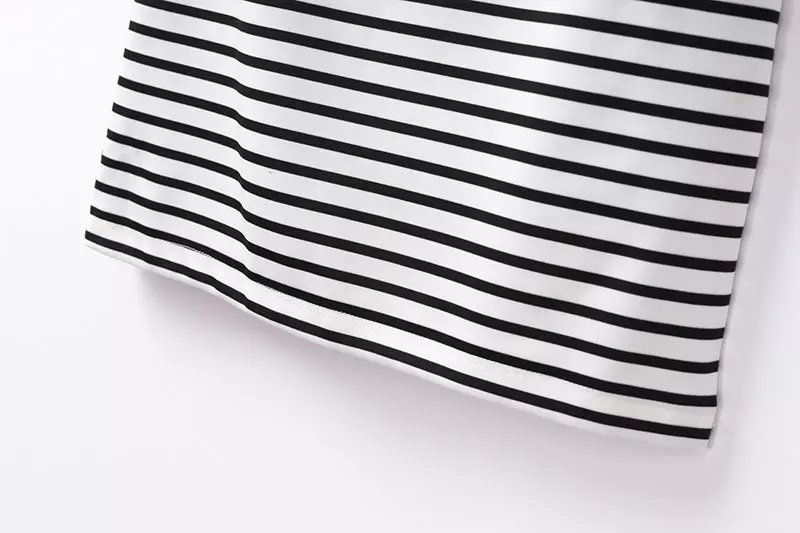 Black White Stand Collar Striped Dress - Sheinside.com