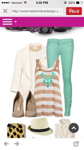 tank top,stripes,beige,white,mint,jeans,blazer,jacket