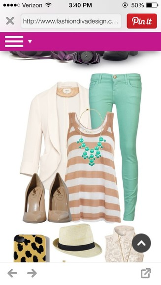 jacket tank top blazer beige stripe white mint jeans