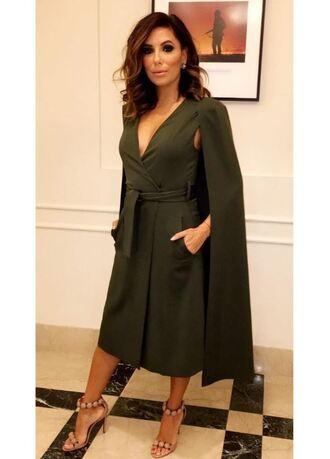 dress cape sandals eva longoria instagram midi dress plunge dress