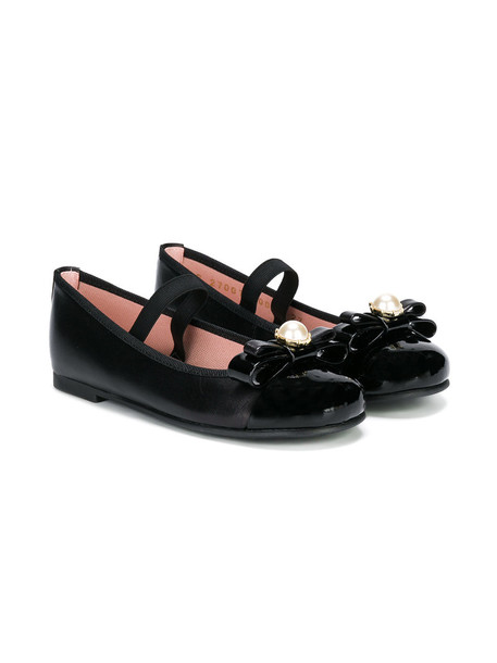 Pretty Ballerinas Kids bow embellished leather black shoes
