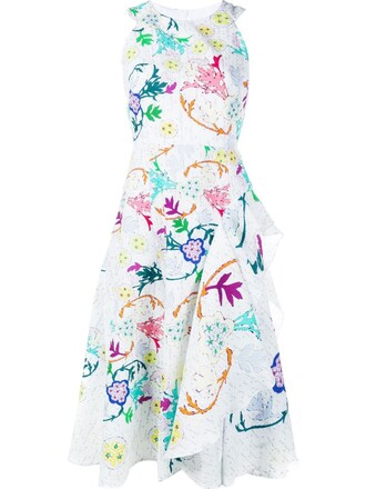 dress draped dress draped floral print white