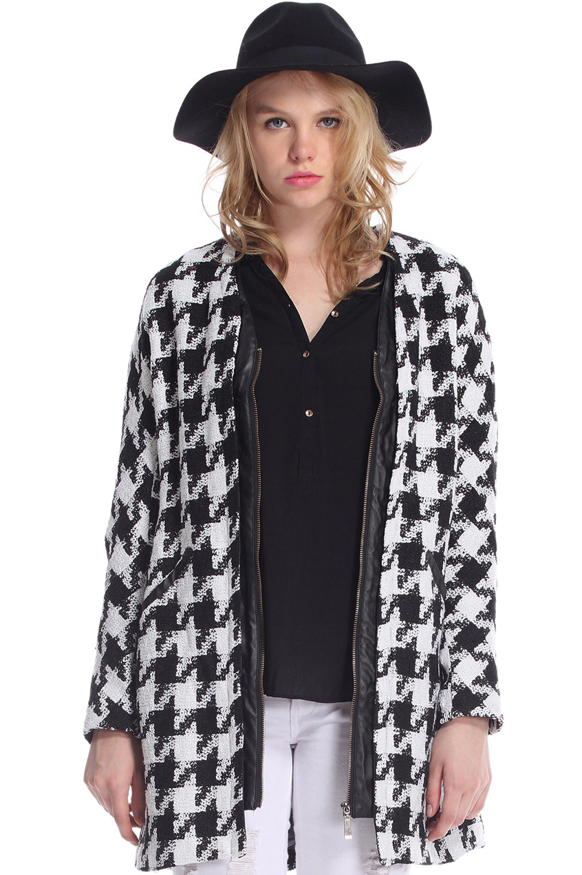 ROMWE | Pocketed Zippered Houndstooth Coat, The Latest Street Fashion