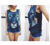 top,wolf,teenagers,loose it,tank top,cute,shirt,comfy,blue,girly,outfit,tumblr