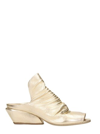 mules beige gold shoes