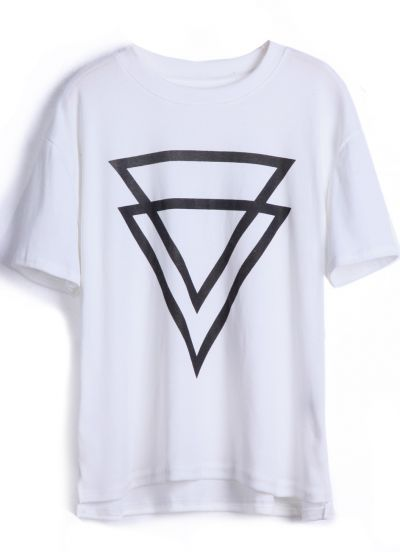 White short sleeve double triangles print t