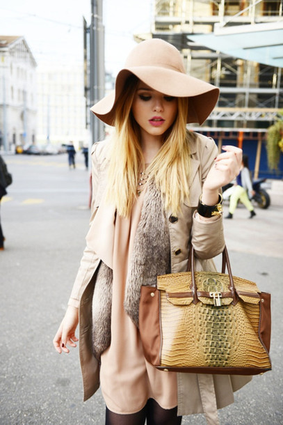 bag handbag hat hat sweater fur floppy hat jacket