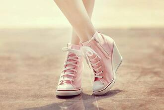 converse vans pink cute lovely pretty barbie girly high heels gorgeous wedge sneakers shoes
