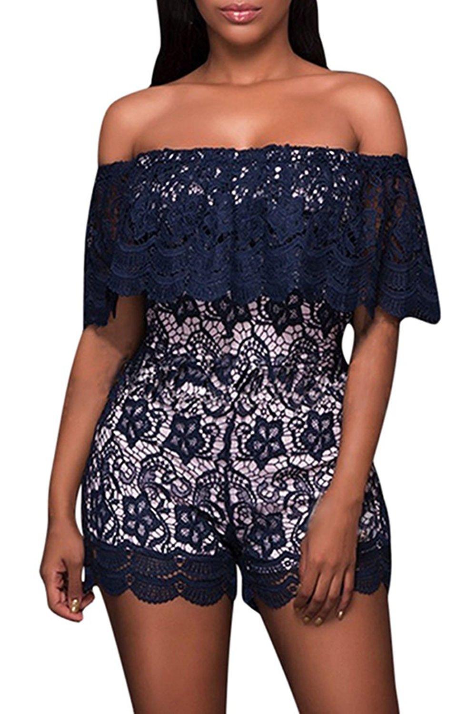 Amazon.com: Selowin Women Off Shoulser Lace Ruffles High Waist Shorts Jumpsuit Rompers: Clothing