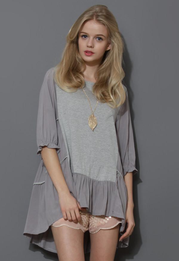 blouse cozy my fav grey dolly hi-lo top