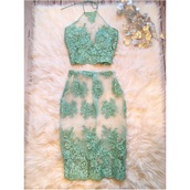 dress,mint dress,lace,2 piece skirt set,skirt,crop tops