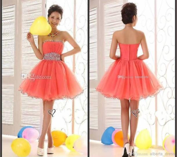 dress see through dress jewels short dress sweet 16 dresses pink dress orange dress
