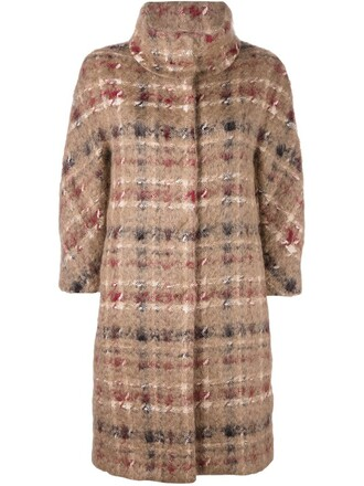 coat plaid women nude cotton wool
