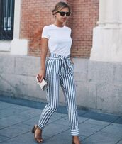 pants,stripes,vertical stripe,striped pants,blue and white,cute,blue and white stripes,cute pants,classy,pastel,high waisted pants,blue,white,paperbag,sailor stripes,summer pants,high waisted
