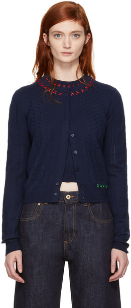 Carven cardigan cardigan embroidered navy sweater