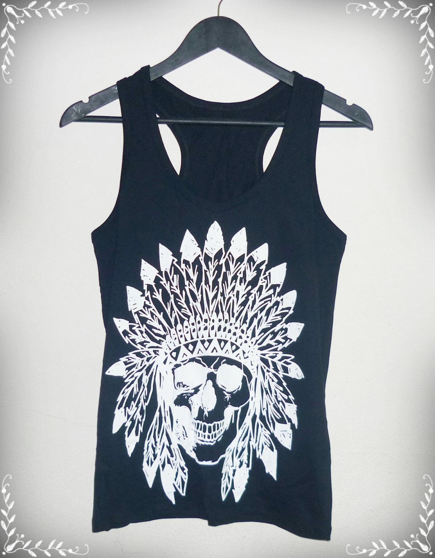 Tank top skull indian native american shirt men women vest s m l xl skull tank top black cotton shirt singlet sleeveless/ fashional clothing