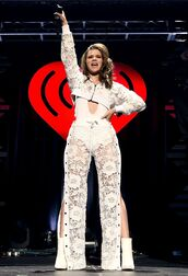pants,lace,hailee steinfeld,top,bodysuit,white,jacket,ankle boots,sheer,see through,blouse