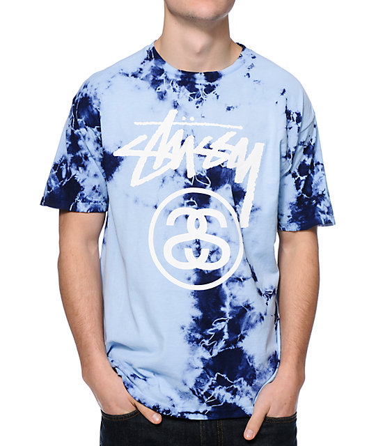 Stussy Storm Stock Link Blue Tie Dye T Shirt